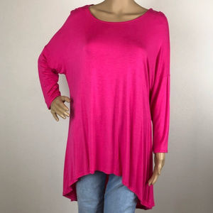 Hot Pink Hi Low Tunic Shit Top Blouse 3/4 Sleeve